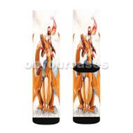 Charmander and Ash Pokemon Custom Sublimation Printed Socks Polyester Acrylic Nylon Spandex with Small Medium Large Size