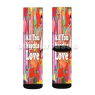 All You Need is Love Custom Sublimation Printed Socks Polyester Acrylic Nylon Spandex with Small Medium Large Size