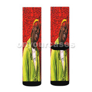 Lil Yachty Red Custom Sublimation Printed Socks Polyester Acrylic Nylon Spandex with Small Medium Large Size