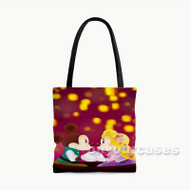 Mickey and Minnie as Flynn and Rapunzel Custom Personalized Tote Bag Polyester with Small Medium Large Size