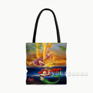 Tangled Rapunzel and Ariel Mermaid Disney Custom Personalized Tote Bag Polyester with Small Medium Large Size