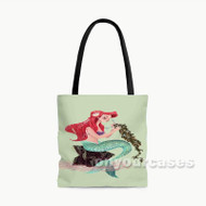 Ariel The Little Mermaid Disney Cartoon Custom Personalized Tote Bag Polyester with Small Medium Large Size