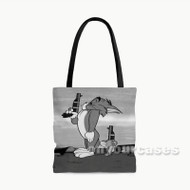 Pistols at Dawn Tom and Jerry Custom Personalized Tote Bag Polyester with Small Medium Large Size