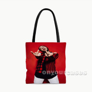 Post Malone Rapper Finger Flip Custom Personalized Tote Bag Polyester with Small Medium Large Size