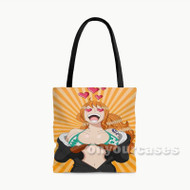 Sexy Nami One Piece Anime Manga Custom Personalized Tote Bag Polyester with Small Medium Large Size
