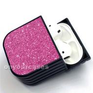 Pink Glitter Custom Air Pods Case Cover for Gen 1, Gen 2, Pro