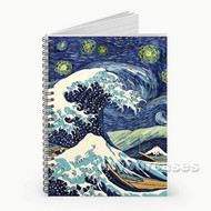 Starry Night Great Wave Custom Personalized Spiral Notebook Cover