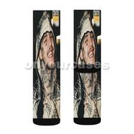 Lil Peep 3 Custom Sublimation Printed Socks Polyester Acrylic Nylon Spandex with Small Medium Large Size