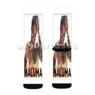 Maluma 2 Custom Sublimation Printed Socks Polyester Acrylic Nylon Spandex with Small Medium Large Size