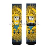 Minions Banana Custom Sublimation Printed Socks Polyester Acrylic Nylon Spandex with Small Medium Large Size