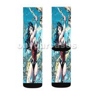 Wonder Woman Superhero Custom Sublimation Printed Socks Polyester Acrylic Nylon Spandex with Small Medium Large Size