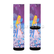 Alice in Wonderland With Flowers Custom Sublimation Printed Socks Polyester Acrylic Nylon Spandex with Small Medium Large Size