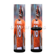Denver Broncos Peyton Manning Custom Sublimation Printed Socks Polyester Acrylic Nylon Spandex with Small Medium Large Size