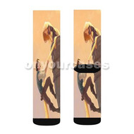 Tangled Rapunzel and Flynn Disney Custom Sublimation Printed Socks Polyester Acrylic Nylon Spandex with Small Medium Large Size