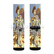 Toy Story Buzz and Woody Custom Sublimation Printed Socks Polyester Acrylic Nylon Spandex with Small Medium Large Size