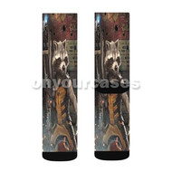 Rocket Racoon from Guardians of The Galaxy Custom Sublimation Printed Socks Polyester Acrylic Nylon with Small Medium Large Size