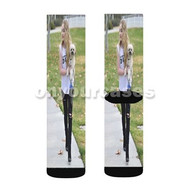 Sabrina Carpenter Walking Her Dog Custom Sublimation Printed Socks Polyester Acrylic Nylon Spandex with Small Medium Large Size
