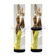 Serena Williams Custom Sublimation Printed Socks Polyester Acrylic Nylon Spandex with Small Medium Large Size
