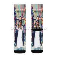 Silento Glassess Custom Sublimation Printed Socks Polyester Acrylic Nylon Spandex with Small Medium Large Size
