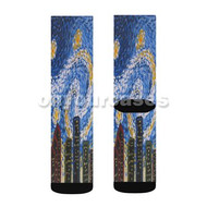 Starry Night Houston City Custom Sublimation Printed Socks Polyester Acrylic Nylon Spandex with Small Medium Large Size