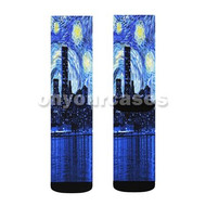 Starry Night New York City Custom Sublimation Printed Socks Polyester Acrylic Nylon Spandex with Small Medium Large Size