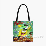 Spongebob Squarepants Cooking Custom Personalized Tote Bag Polyester with Small Medium Large Size