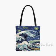 Starry Night Great Wave Custom Personalized Tote Bag Polyester with Small Medium Large Size