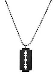 Necklace/Key Ring Razor Blade Black