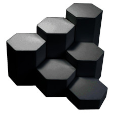 6-Piece Hexagon Riser Set/Black Faux Leather