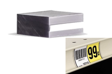 "1.25 x 2"" Clear Plastic Chip for shelf channels. Holds and protects paper labels in shelf channeling. Allows easy movement of adhesive labels in shelf channeling. Use behind an adhesive label, or as a cover to protect a non-adhesive tag.  UV resistant. Bundle of 250."