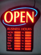 """LED """"OPEN"""" Sign with Business Hours"""