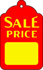 Sale Price Tag in Yellow on Red