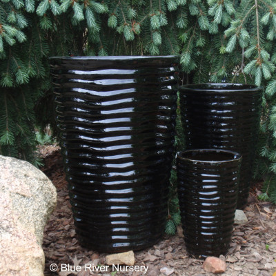 Black Tall Round Ceramic Pots