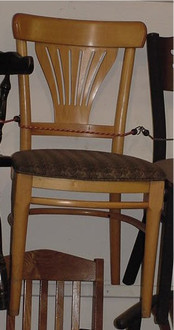 LIGHT WOOD CHAIR W/ UPHOLSTERED SEAT