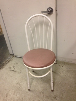 WHITE FRAME PINK SEAT FAN BACK CHAIR