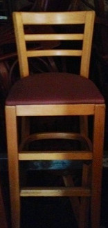 WOODEN LADDER BACK BARSTOOL