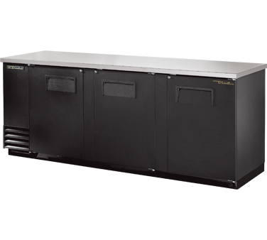"New-Back Bar Cooler, three-section, 37"" high, (152) 6-packs or (4) keg capacity, (6) shelves, condensing unit on left, stainless steel top, galvanized interior with stainless steel floor, black vinyl exterior, (3) full doors with locks, fluorescent interior lights, 1/3 HP, 115v/60/1, 9.1 amps, 7' cord, NEMA 5-15P, MADE IN USA, 3 years parts and labor, 5 years compressor warranty"