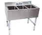 "NEW - Underbar Sink, three compartment, 36""W x 21-1/4""D x 32-1/2""H, 18/304 stainless steel construction, 10"" wide x 14"" front-to-back x 10"" deep compartments, 4-1/2""H backsplash, 4"" O.C. deck mount lead-free faucet (BKD-10-G), stainless steel apron on front & sides, includes basket drains (BKDR-2) & removable overflow standpipes (BK-OT-15075), galvanized steel legs & adjustable side bracing, adjustable high-impact corrosion-resistant feet, NSF"