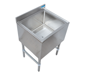 "NEW - Underbar Ice Bin, with cold plate, 24""W x 21""D x 32-1/2""H, 18/304 stainless steel construction, 4""H backsplash, 12-9/16"" deep insulated ice bin, 7-circuit aluminum cold plate, 75lbs. capacity, 1"" NPS drain with drain plug, galvanized steel legs with adjustable high-impact corrosion-resistant feet, NSF"
