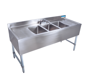 "NEW - Underbar Sink, three compartment, 60""W x 21-1/4""D x 32-1/2""H, 18/304 stainless steel construction, 10"" wide x 14"" front-to-back x 10"" deep compartments, 13-1/2"" stamped drainboards on left & right, 4-1/2""H backsplash, 4"" O.C. deck mount lead-free faucet (BKD-10-G), stainless steel apron on front & sides, includes basket drains (BKDR-2) & removable overflow standpipes (BK-OT-15075), galvanized steel legs & adjustable side bracing, adjustable high-impact corrosion-resistant feet, NSF"
