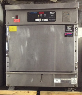 "Used-Winston CVap?? Cook & Hold Oven, half size, with fan, 9 cu. ft., electronic controls, adjustable racks, magnetic door latch, full-perimeter insulated, load limit 65 lbs (29.25 kg) per rack support (pair), casters, stainless steel construction, 28""W x 34""H x 34""D, 208 volts, 3 phase,  UL, cUL, UL Sanitation, NSF"