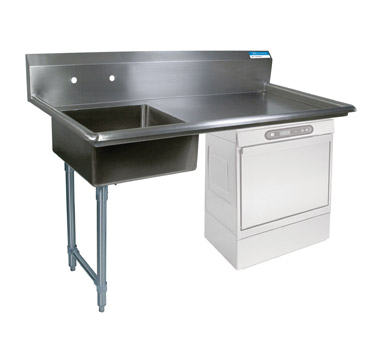"NEW-Soiled Dishtable, undercounter, 50""W x 30""D x 46""H, comes in left or right operation, 18/304 stainless steel top, 10""H backsplash, 20"" x 20"" x 8"" deep pre-rinse sink on left, 8"" O.C. splash mount faucet holes, raised rolled edges on front & sides, 3-1/2"" basket drain included, galvanized steel legs & side bracing, adjustable high-impact corrosion-resistant feet, NSF"