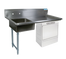 """NEW-Soiled Dishtable, undercounter, 60""""W x 30""""D x 46""""H, comes in left or right operation, 18/304 stainless steel top, 10""""H backsplash, 20"""" x 20"""" x 8"""" deep pre-rinse sink on left, 8"""" O.C. splash mount faucet holes, raised rolled edges on front & sides, 3-1/2"""" basket drain included, galvanized steel legs & side bracing, adjustable high-impact corrosion-resistant feet, NSF"""