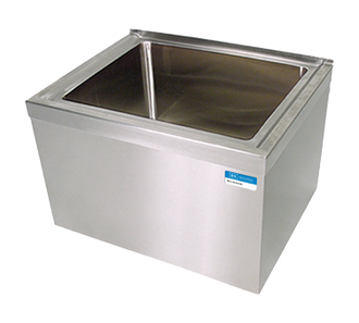 """new-Mop Sink, floor mount, 16"""" wide x 20"""" front-to-back x 12"""" deep, 18/304 stainless steel, 3-1/2"""" heavy duty brass basket drain, (3) skirted sides"""