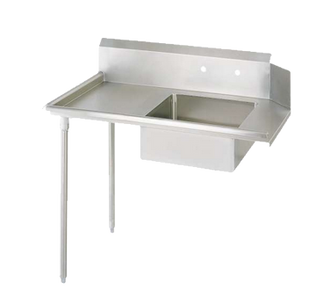 "NEW-Soiled Dishtable, straight design, 48""W x 30-7/8""D x 46-1/4""H, comes in left or right operation, 18/304 stainless steel top, 10""H backsplash, 20"" x 20"" x 8"" deep pre-rinse sink, 8"" O.C. splash mount faucet holes, raised rolled edges on front & side, 3-1/2"" basket drain included, galvanized steel legs & side bracing, adjustable plastic bullet feet, NSF"
