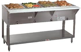 "NEW-Hot Food Table, electric, (4) 12"" x 20"" sealed hot food wells with drains, wet or dry operation, 1"" poly cutting board, individual infinite controls, stainless steel construction, 6 ft. cord, 208-240v/60hz/1-ph, UL, NSF"