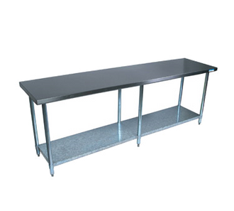 "NEW-Work Table, 96""W x 30""D, 18/430 stainless steel top, with turndown edges on all sides, reinforced with channels, adjustable galvanized undershelf, (6) 1-5/8"" dia. galvanized legs, adjustable high-impact corrosion-resistant feet, NSF"