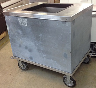 "USED-Ice Cream Serving Cart, drain/valve, 4-hole, double roll, dip (5) 3 gallon, store (2) 3 gallon, 6"" locking casters, self-contained refrigeration, 44""W x 40""H x 31""D, 220 volts, 1/4 hp, cUL, UL, NSF"