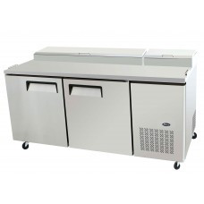 Refrigerated Reach-In Pizza Prep Table, two-section, self-contained refrigeration, 20.0 cu. ft. capacity, includes (9) 1/3 stainless steel pans, 33° to 38°F temperature range, (2) locking hinged self-closing doors, (2) adjustable shelves, ventilated refrigeration, automatic lighting & evaporation, air defrost, stainless steel interior & exterior, galvanized steel back, casters, side mounted refrigeration, backsplash, 630 watts, 115v/60/1-ph, 7.5 amps, 2/3 HP, cETLus, ETL, CE