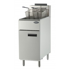 Heavy Duty Fryer, gas, floor model, 40 lb. capacity, (3) burners, standby pilots, 200?øF- 400?øF temperature range, self-reset high temperature limiting device, oil cooling zone seated in the bottom of the tank, stainless steel structure, adjustable stainless steel legs, 102,000 BTU, cETLus, ETL